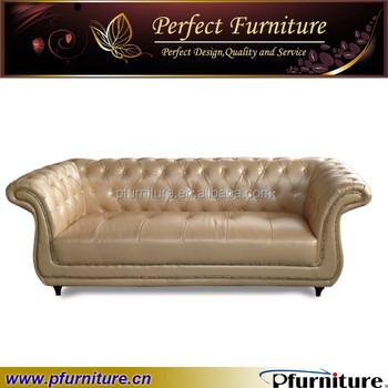 Europe Type Golden Leather Sofa Set PFS1518