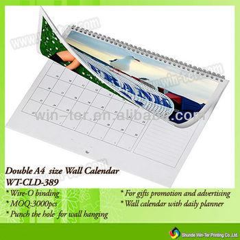 Wt-cld-389 Spiral Bound Wall Folding Calendar