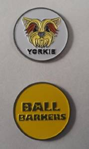 Ball Barkers Yorkie Double Sided Golf Ball Marker Yellow