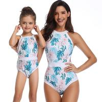2019 Mother And Baby Girl Swimsuit Print Sexy Floral Two Piece Swimsuits Matching Summer Swimming Clothing Parent-Child Swimsuit