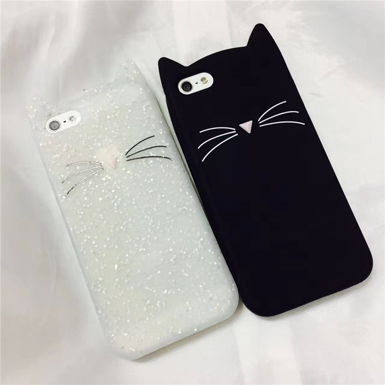 Silicone Cases 3D MEOW Bearded Cat Silicone Back Phone Accessories Case Cover for iPhone7 Shells Fundas 4.7""