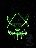 Zipper Face Light Up El Wire Neon GREEN Glow Mask! Rave Halloween Mask! Rare!