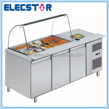 Restaurant Kitchen Counter display salad food counter with curved glass lid,stainless steel