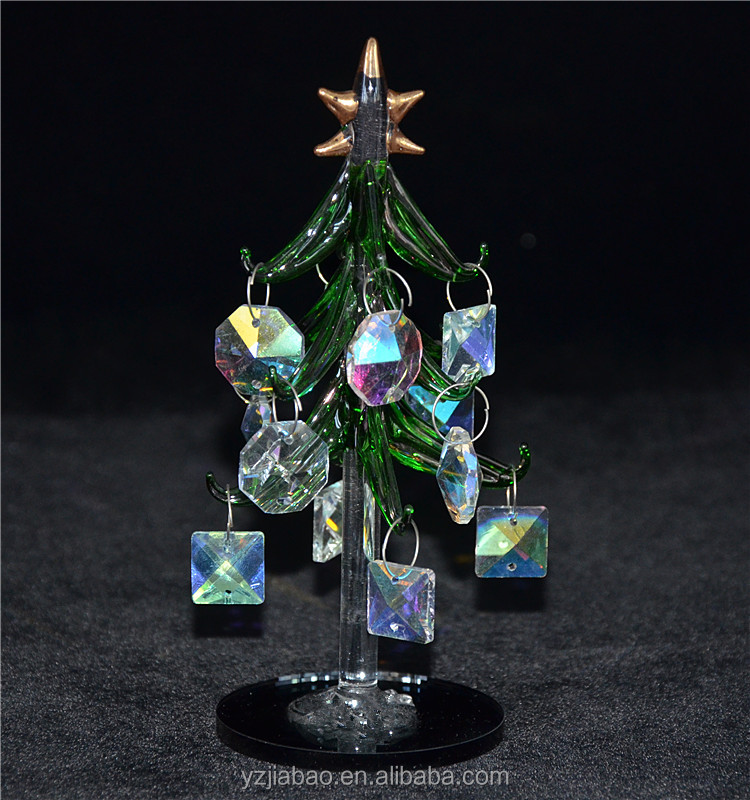 Popular 2016 hot sell decorated christmas trees, 15cm green crystal tree with shiny hanging, mirror bottom from ali baba express