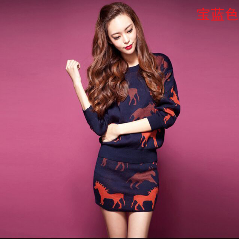 Large size Women 2016Korea Autumn font b Winter b font Latest Fashion Knitted Suits Elegant Printing
