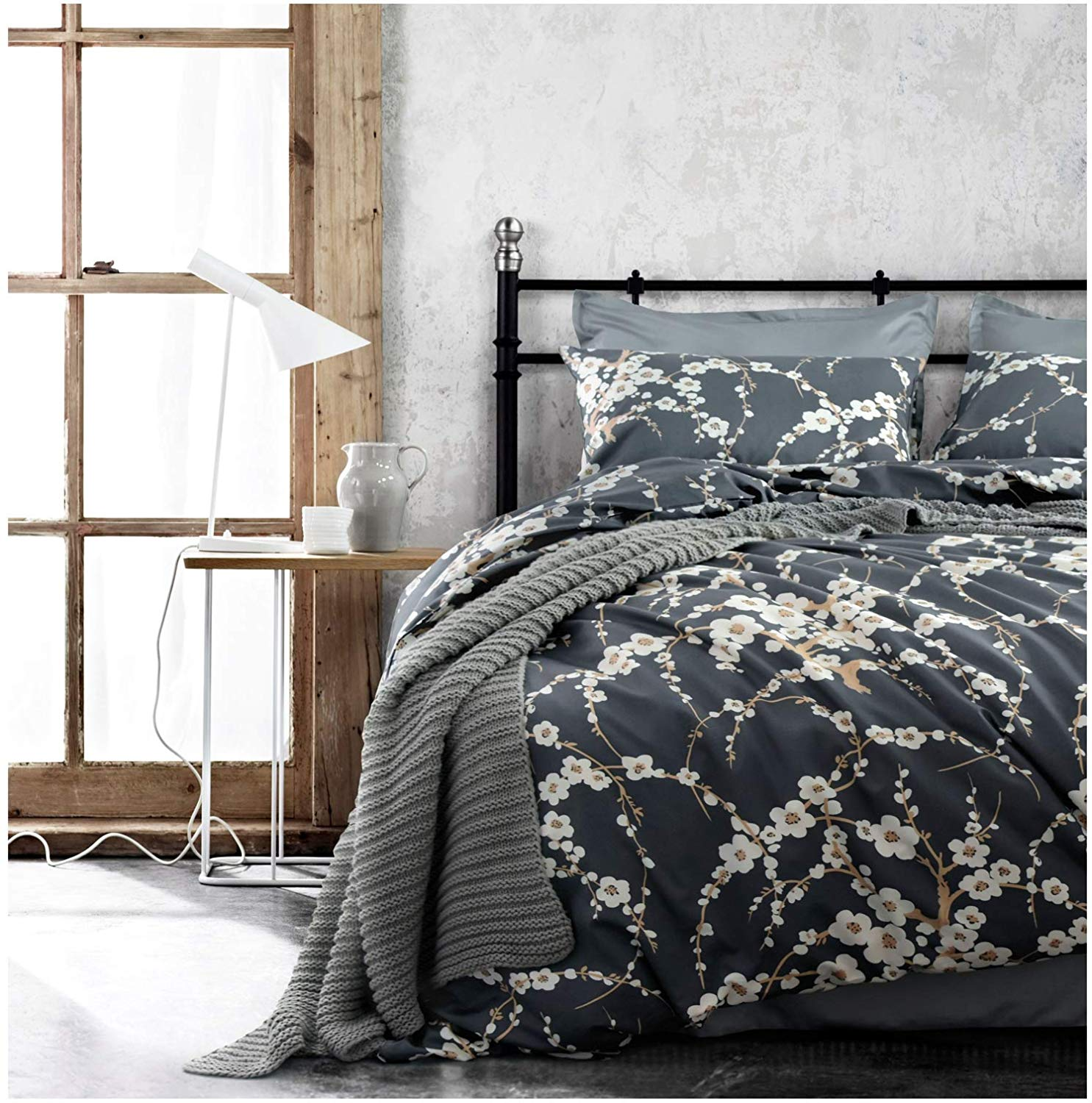 3e217505c5352 Get Quotations · Japanese Oriental Style Cherry Red Blossom Floral branches  Print Duvet Quilt Cover 300tc Cotton Bedding 3