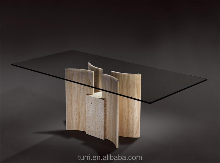 Round Travertine Base Dining Table With Tempered Gl Top