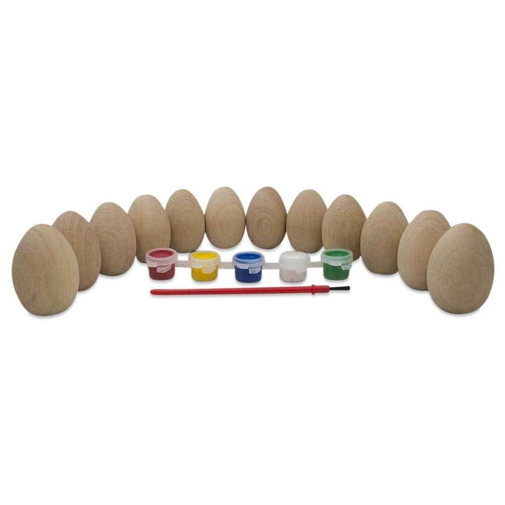"""2"""" Paint your Own Set of 12 Blank Unfinished Wooden Eggs"""