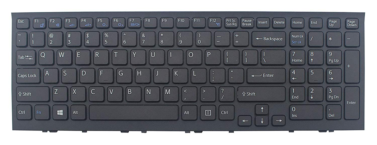 Laptop replacement keyboard with frame compatible with Sony VPCEH32FX VPCEH32FX/B VPCEH32FX/P VPCEH32FX/W VPCEH34FX VPCEH34FX/B VPCEH34FX/BC VPCEH34FX/L VPCEH34FX/P VPCEH34FX/W VPCEH35FM VPCEH35FM/B VPCEH35FM/L VPCEH35FM/P VPCEH35FM/W VPCEH36FX VPCEH36FX/B VPCEH36FX/L VPCEH36FX/P VPCEH36FX/W