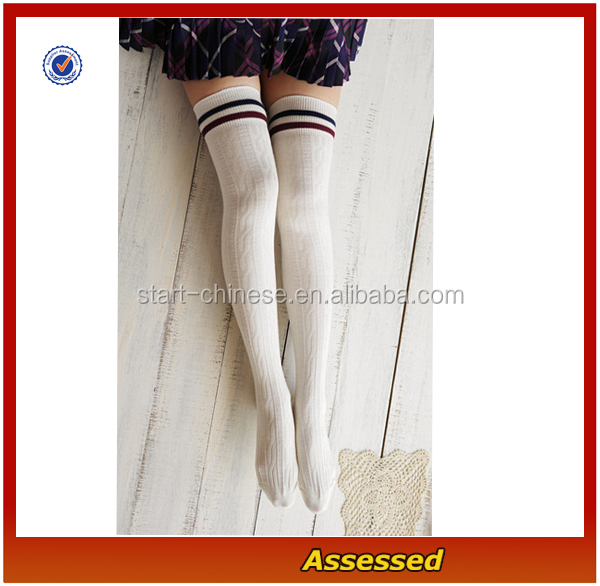 wholesale alibaba striped thigh high sockscustom extra thick leg students stockings