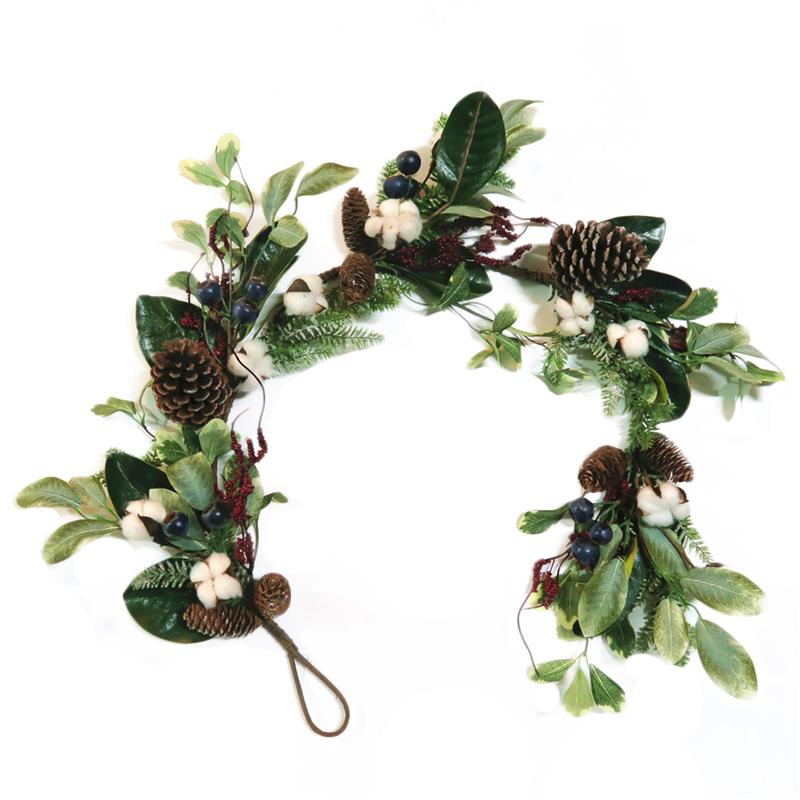 Leaves Garland with cotton and pinecone matching wreath and table piece for table decoration
