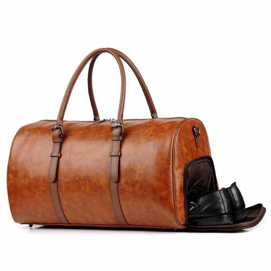 New arrival High quality man women travel bag small italian leather garment camel Tote bags