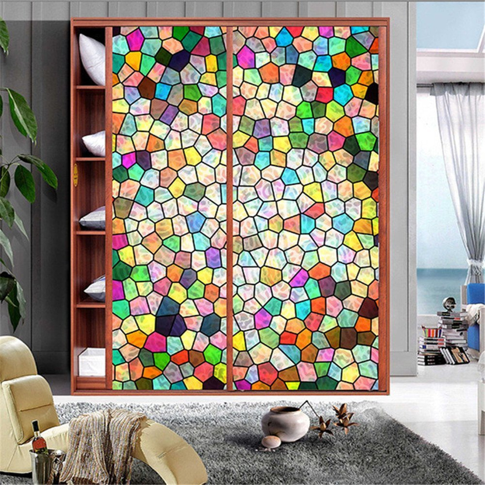 """OstepDecor Custom Non-Adhesive Frosted Translucent Stained Glass Window Films 30"""" W x 60"""" L"""