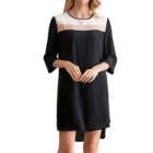 Ladies Clothing Manufacturer Black White Nude Contrast Silk Crepe De Chine Round Neck Long Sleeve Short Dress