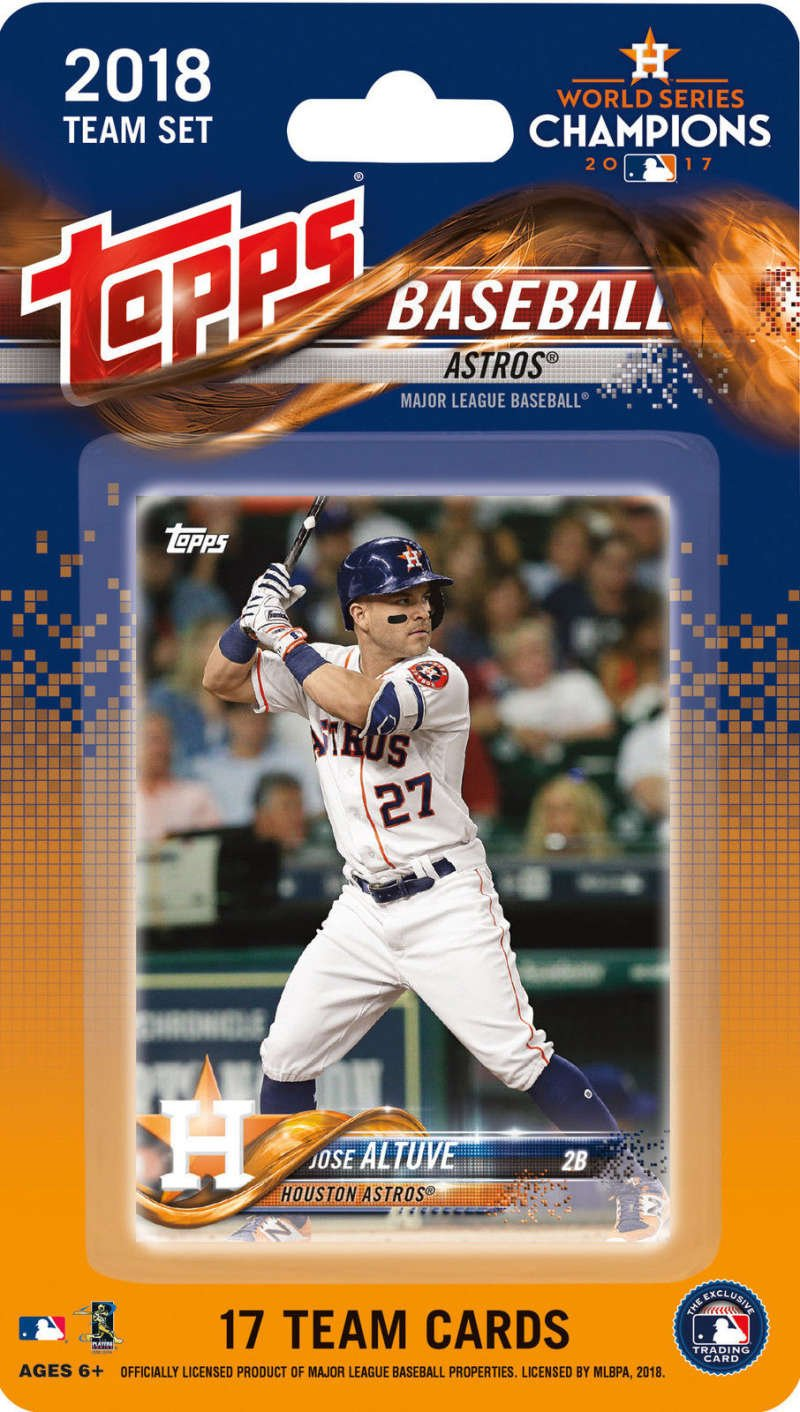 2018 Topps Baseball Factory Houston Astros Team Set of 17 Cards which includes: Jose Altuve(#HA-1), Jake Marisnick(#HA-2), Josh Reddick(#HA-3), Carlos Correa(#HA-4), Brad Peacock(#HA-5), Charlie Morton(#HA-6), Alex Bregman(#HA-7), Yulieski Gurriel(#HA-8), Justin Verlander(#HA-9), Dallas