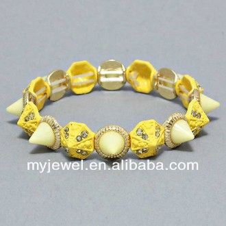 ( blue ) easy match gold color metal studded concise double layer bracelet parts stretch rope bracelet