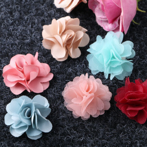 DIY fabric applique satin flower Chiffon Flowers for DIY Hair Bows Headband Craft
