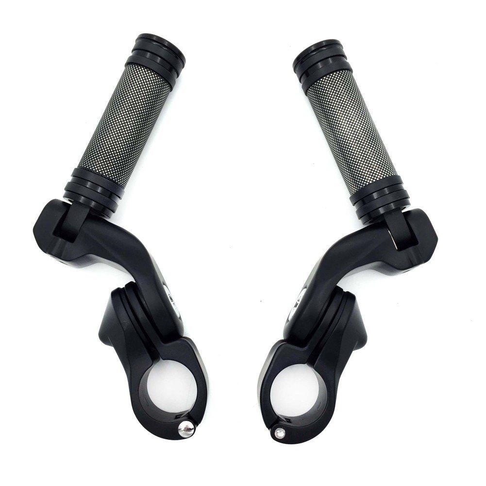 "Black 2.5"" Short Angled Adjustable Foot Peg Kit 1.25"" For Honda GoldWing/ Yamaha V-STAR/ Suzuki Intruder/ Kawasaki Vulcan Engine Guard"