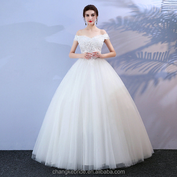 Glamorous Ivory Wedding Dresses Long 2018 Sexy Casual Wedding Gowns Tulle Appliques Lace-Up Ball-Gown Bride White Wedding Dress