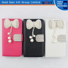 High Quality Litchi Pattern Leather Case for LG G2 with Luxury Butterfly Diamond