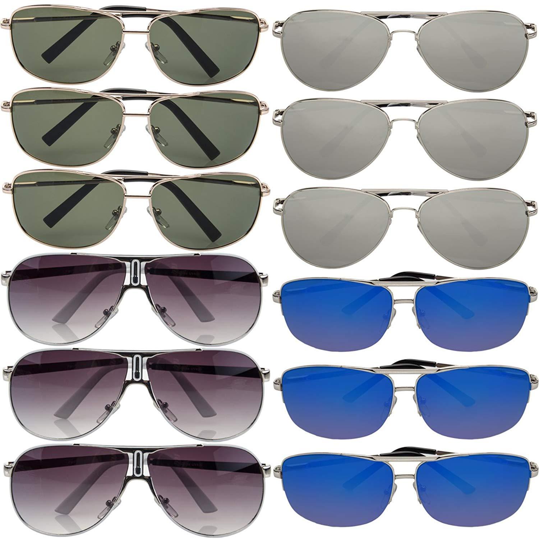 614e6e86df Get Quotations · Pacific SOL 12 Pairs Aviator Sunglasses Assorted 100% UV  Protection for Mens Womens Classic Retro