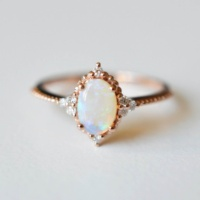 925 Sterling Silver Custom Jewelry Rose Gold Plated Silver Opal Wedding Ring