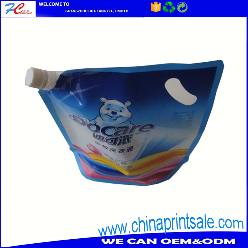 High quality stand up pouch liquid with spout,stand up pouch packing,with handle stand up pouches plastic packaging bag