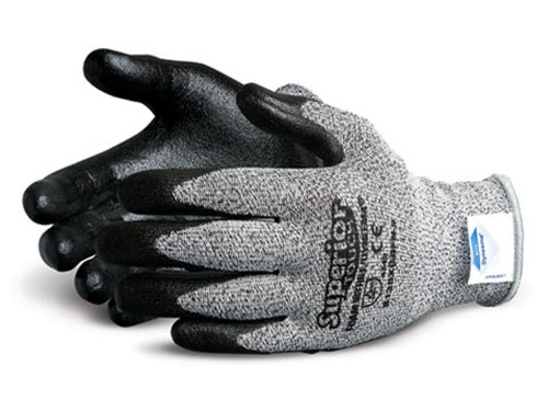 Superior S13SXGBFN Superior Touch Dyneema Speckled String Knit Glove with Foam Nitrile Coated Palm, Work, Cut Resistant, 13 Gauge Thickness, Size 6, Black/Gray (Pack of 1 Pair)