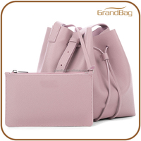new product bucket soft leather designer bags with zip pouch