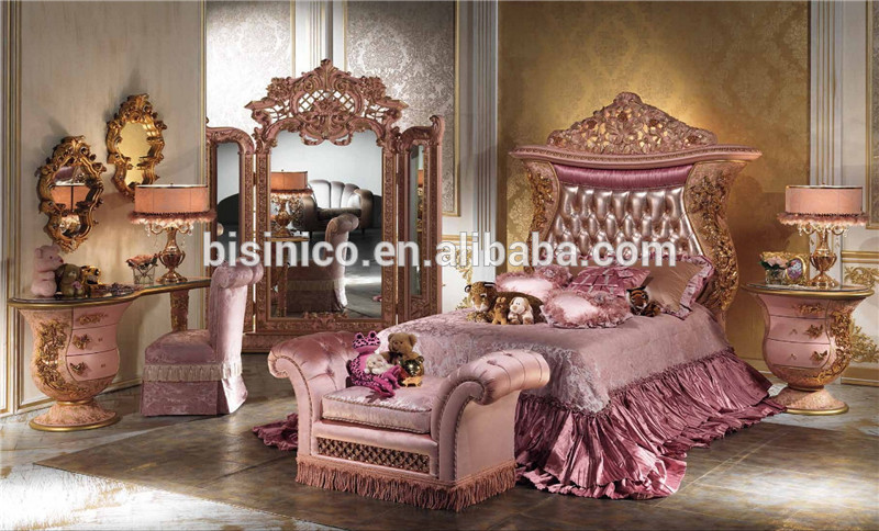 Elegant Italian Luxury Design Children Bedroom Furniture Set, Elegant Pink Princess  Bedroom Set, Latest Ornate