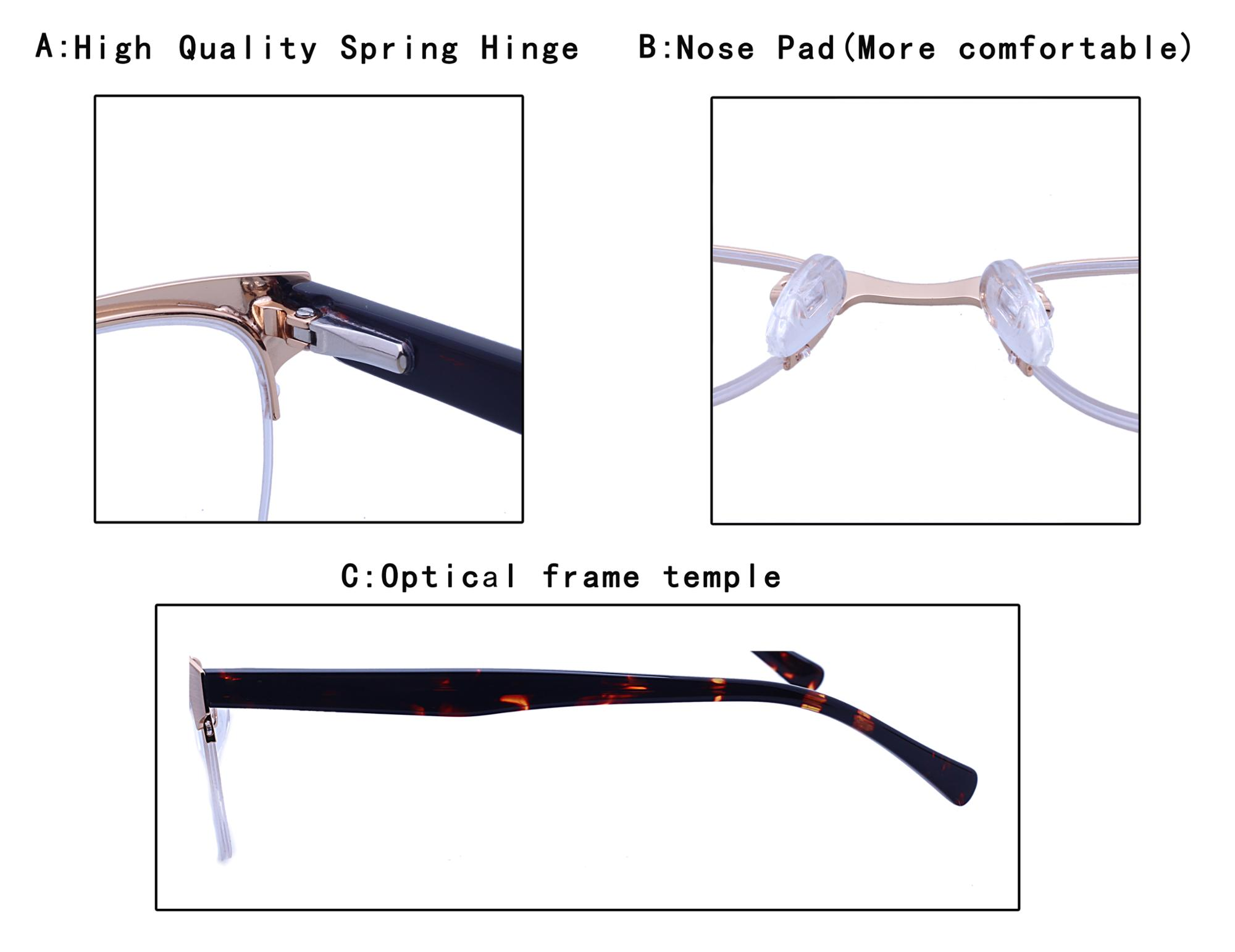 latest products 2018 square fashion high quality acetate temple metal stainless eyewear optical eyeglasses spectacles frame