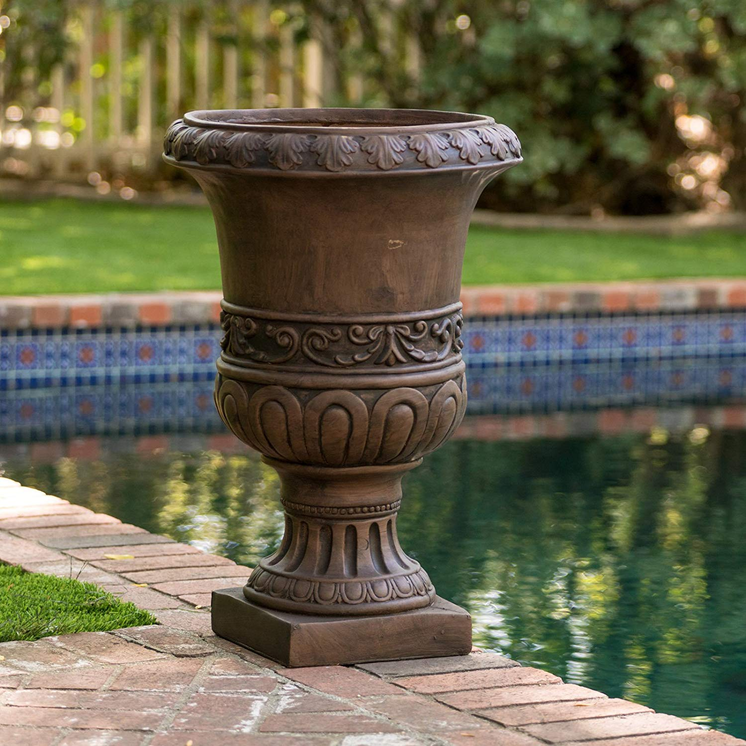 Beautiful Patio Urn Style Planter With Strong And Durable Stone Construction, Features Intricate Turkish Detailing, Suitable For Outdoor And Indoor Use, Brown Finish Reminiscent Of Clay
