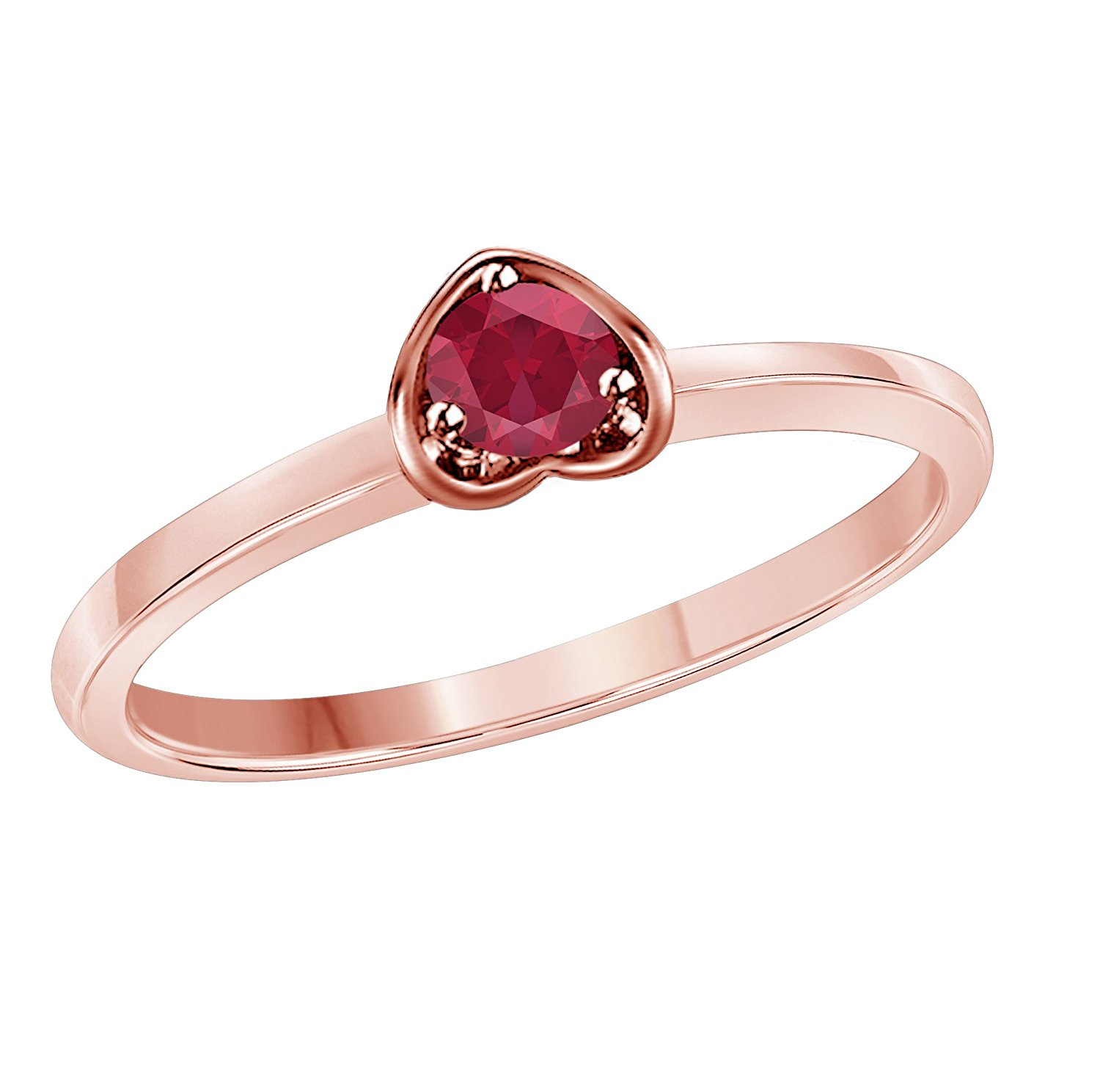 32a8fcc438 Get Quotations · Star Retail Jewelry Round Cut Solitaire Created Red Ruby  Engagement Love Forever Heart Promise Ring in