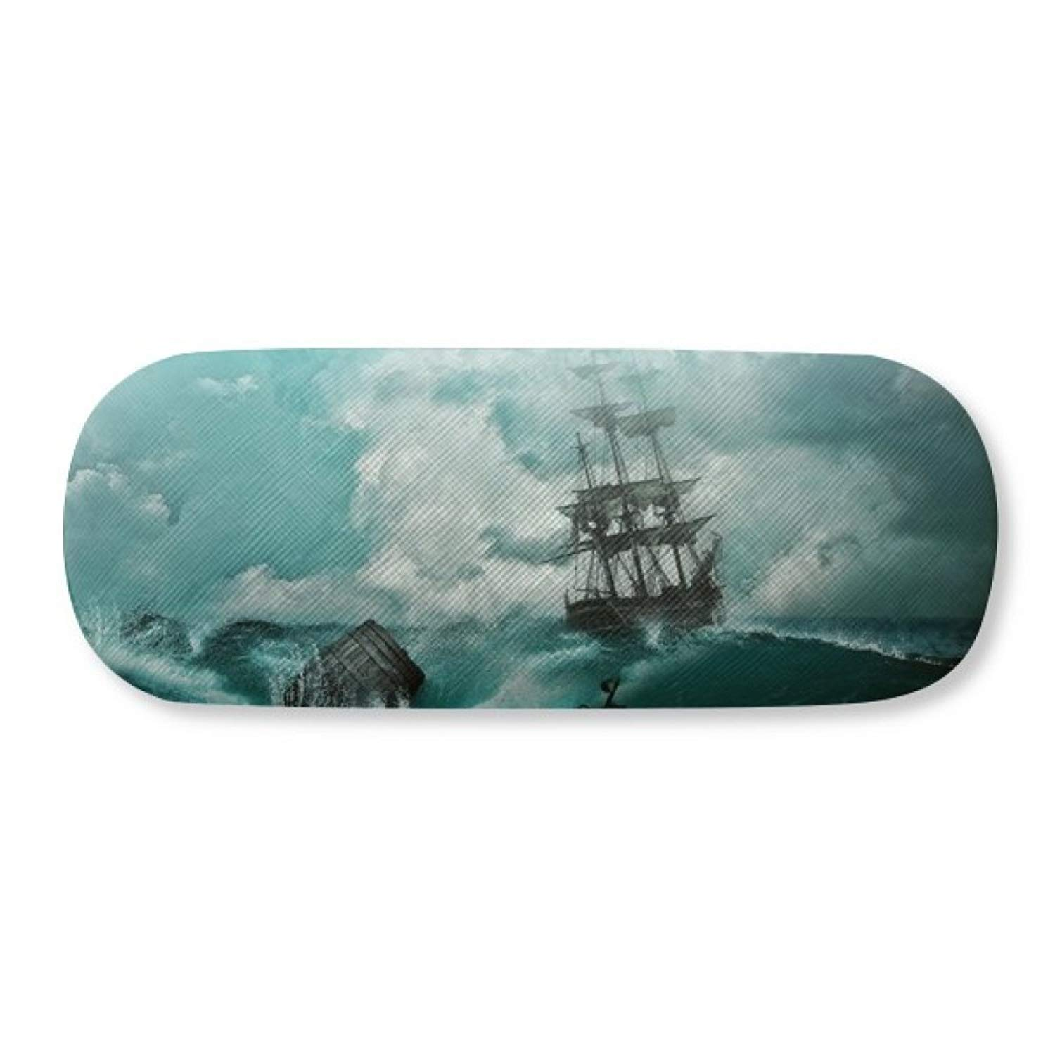 Ocean Water Wave Science Nature Picture Glasses Case Eyeglasses Clam Shell Holder Storage Box