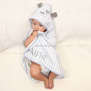 Online wholesale shop cotton Cut pile reactive printing Baby Hooded Towel with animal shape