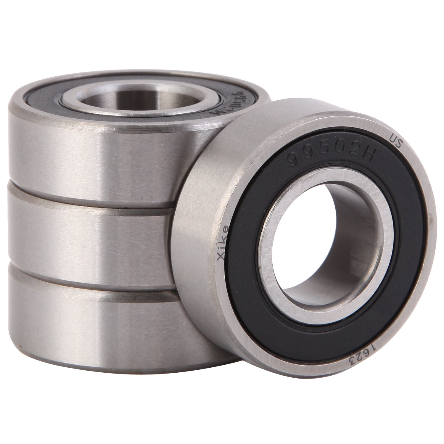 XiKe 4 Pack 1623-2RS Bearings 5/8 x 1-3/8 x 7/16 Inch, Stable Performance and Cost-Effective, Double Seal and Pre-Lubricated, Deep Groove Ball Bearings.