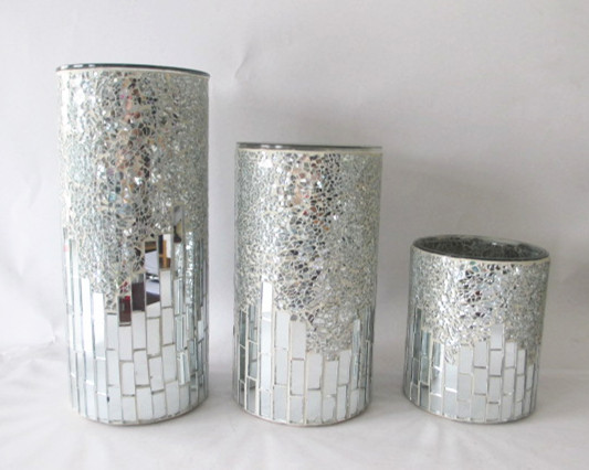 wedding gift silver crackle mosaic decorative heavy large. Black Bedroom Furniture Sets. Home Design Ideas