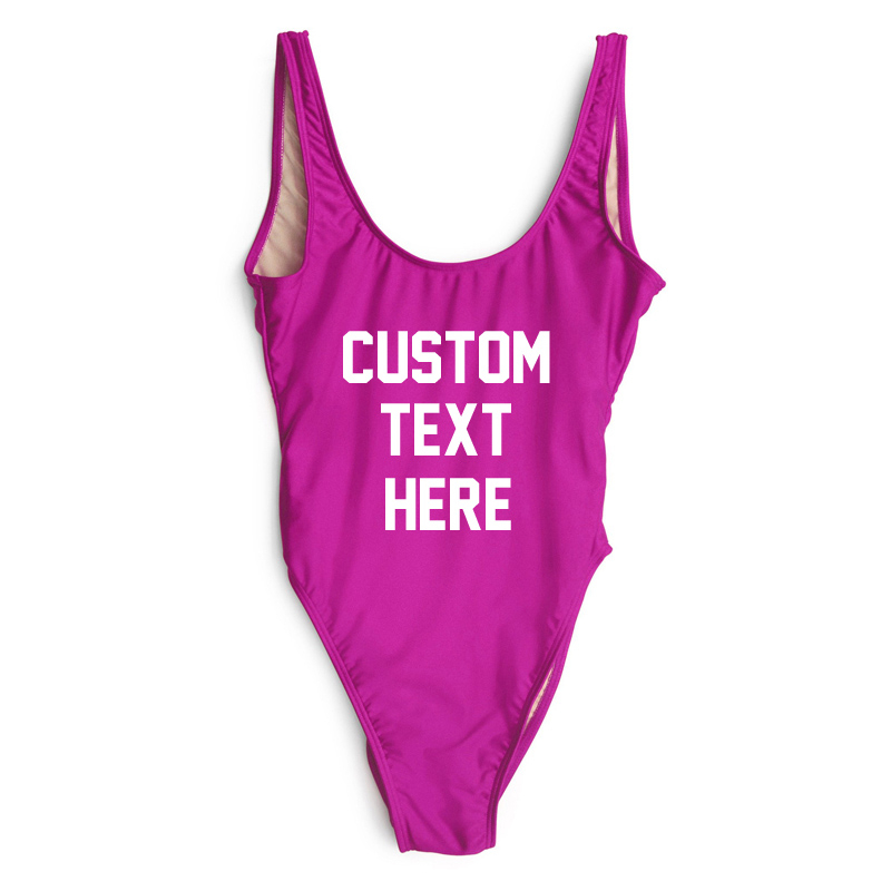 High Quality One Pieces Swimsuit 2019 Custom Text <strong>Swimwear</strong> <strong>Women</strong> Bathing Suit Letter Print Beach Sexy Swimsuit