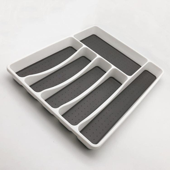 Plastic Nonslip Silicone Cutlery Tray 6 Compartment For Kitchen Drawer Organizer Silverware Product