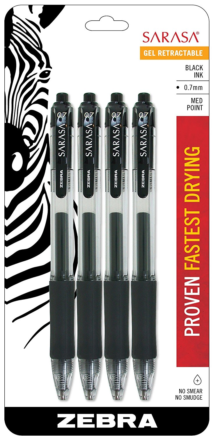 Zebra Sarasa Retractable Gel Ink Pens, Medium Point 0.7mm, Black Rapid Dry Ink, 4-Count