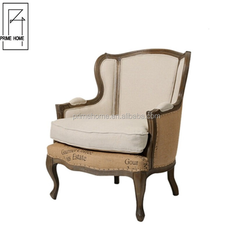 New Design Antique Curved High Back French Style china manufacture french Style hotel accent chairs