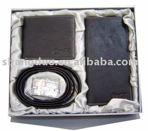 Selling Best Quality Genuine Leather Man's Wallet Belt Gift Set