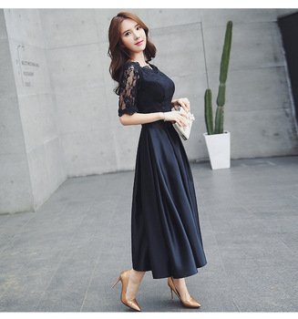 Spring Fashion Designer Long Dress Women's 3/4 Sleeve Mesh Lace Patchwork Vintage Black Maxi Dress Party Dresses