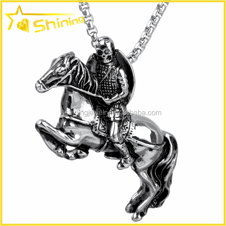 SX0058 wholesale cool jewelry black stainless steel solid hiphop knight pendant