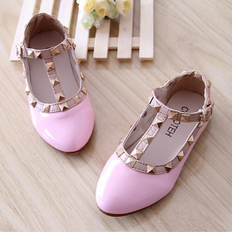 2015 New Spring Autumn princess baby leather shoes with rivets single shoes for girl kid child