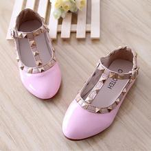 2016 New Spring Autumn princess baby leather shoes with rivets single shoes for girl kid child
