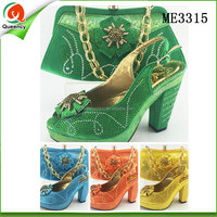 wholesale wedge shoes green ladies shoes and handbag set for sale