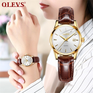 OLEVS 6898 Top Brand Luxury Waterproof 24 hour Date Quartz Watch gold Man Leather Sport Wrist Watch Men Waterproof Clock