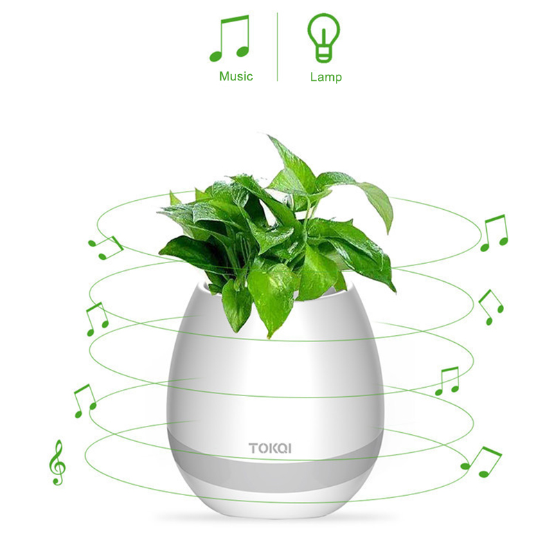 Real plant playing music bluetooth speaker waterproof wireless speaker LED flash singing plant