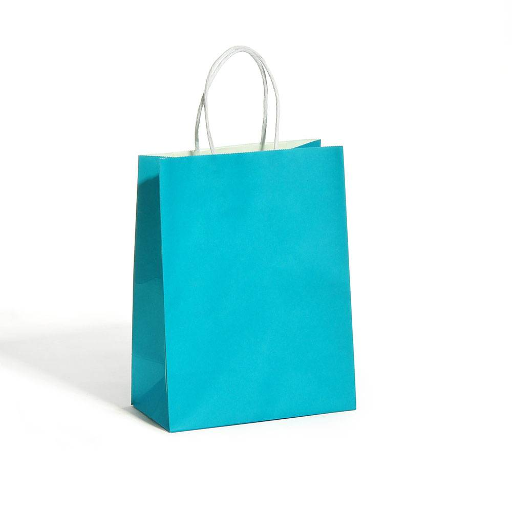 custom blue paper kraft bags with white logo shopping bag twisted